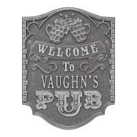 Personalized Pub Welcome Plaque - Pewter / Silver Finish