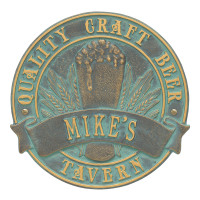 Quality Craft Beer Tavern Round Plaque - Bronze Verdigris
