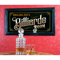 "Vintage-style ""Billiards Room"" personalized home bar mirror"