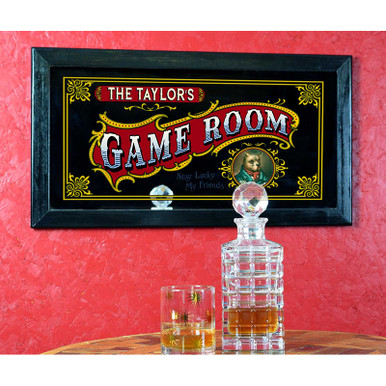 "Vintage-style ""Game Room"" personalized mirror"
