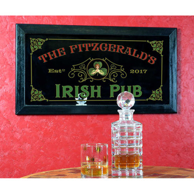 Gorgeous vintage-style Irish Pub home bar mirror