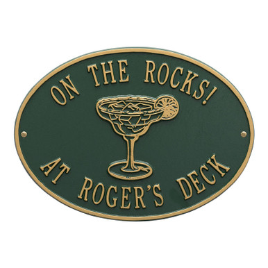 Personalized Margarita Plaque - Green / Gold Finish