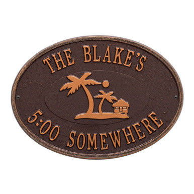 Personalized Island Party Plaque - Antique Copper Finish