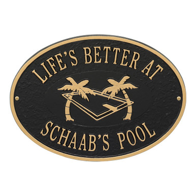 Personalized Pool Party Plaque - Black / Gold Finish