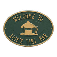 Personalized Tiki Hut Plaque - Green / Gold Finish