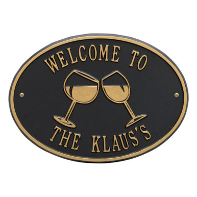Personalized Wine Bar Plaque - Black / Gold Finish