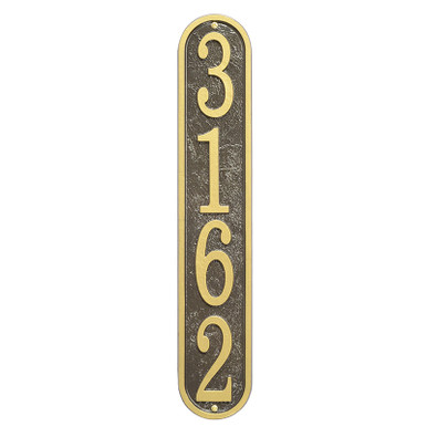 Vertical Oval House Number Address Plaque - Bronze/Gold