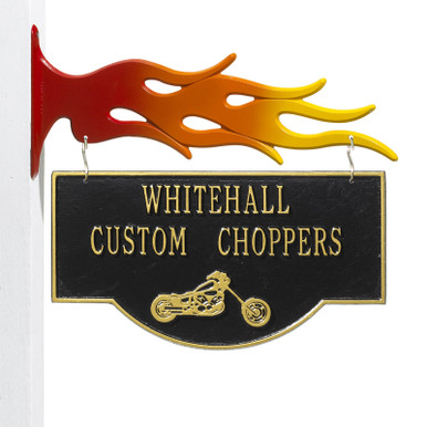 Personalized Chopper Garage Plaque - Black/Gold - Flames Bracket