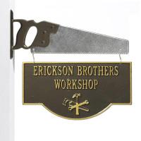 Personalized Workshop Garage Plaque - Oil Rubbed Bronze - Saw Bracket