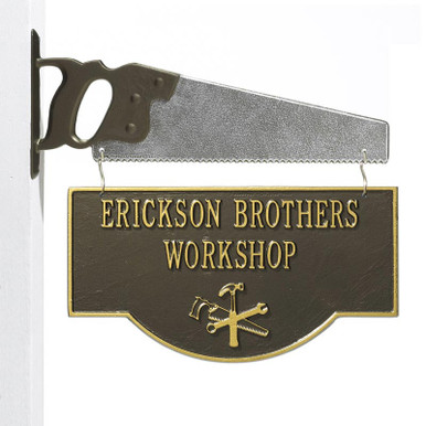Personalized Workshop Garage Plaque - Bronze/Gold - Saw Bracket