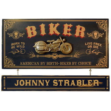 Vintage Biker Plaque with Optional Name Board