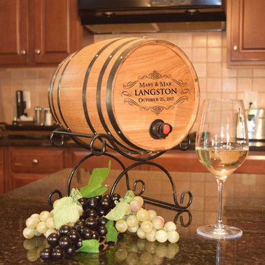Boxed Wine Barrel Serving Kit with Personalized Name & Date