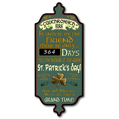 St. Patrick's Day Countdown Chalkboard Plaque
