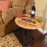 Personalized Oak Barrel Head Coffee Table with Custom Chateau Art