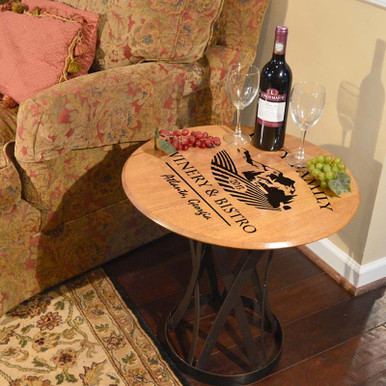 Personalized Oak Barrel Head Coffee Table with Custom Winery Bistro Art