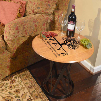 Personalized Vineyards Oak Barrel Head Coffee Table