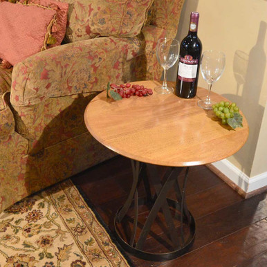End table made from an oak barrel head