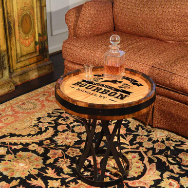 Bourbon Bar Personalized Quarter Barrel Coffee Table