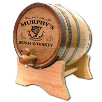 Irish Whiskey Oak Barrel Personalized with Celtic Harp