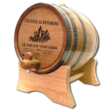 An authentic oak aging barrel with medium char, personalized for you