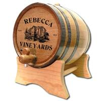 An authentic wine aging barrel with medium char, personalized for you