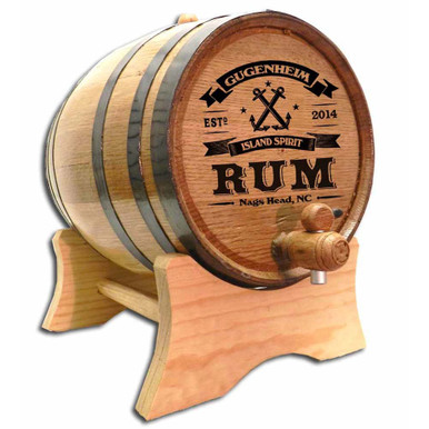Custom engraved Island Spirit Rum Barrel with medium char