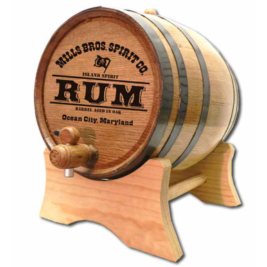 Rum Barrel with Custom Engraved Barrel Head