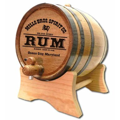 Rum Barrel with Custom Engraved Barrel Head