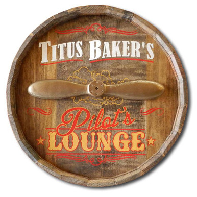 Personalized Pilot's Lounge Barrel Head Sign
