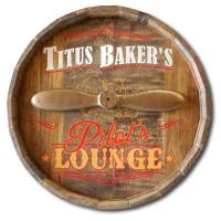 Personalized Pilot's Lounge Barrel Head Sign
