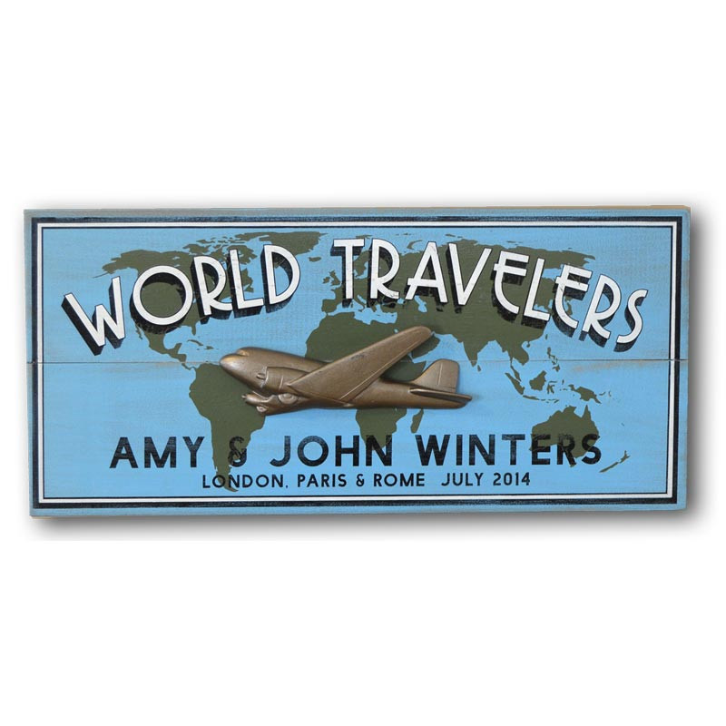 Vintage personalized world travelers sign with world map airplane vintage personalized world travelers plaque gumiabroncs Images