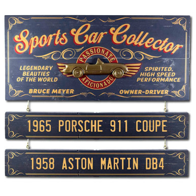 Personalized Vintage Sports Car Collector Sign