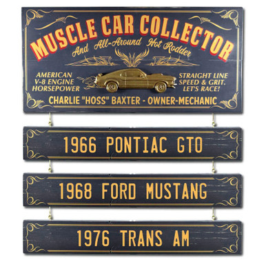 Personalized Vintage Muscle Car Collector Sign