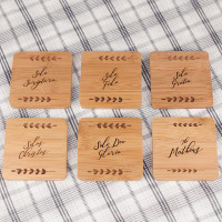 Set of Six Bamboo Coasters