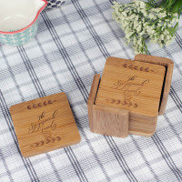 Custom Laser Engraved Family Name Coaster Set