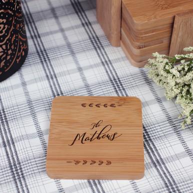 Custom Laser Engraved Set of 6 Bamboo Wood Coasters
