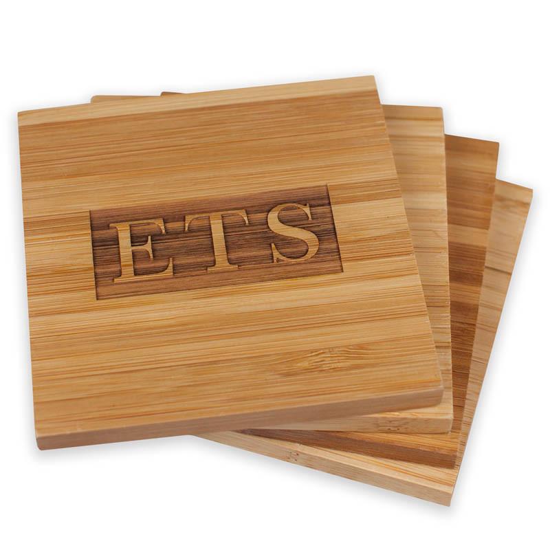 Personalized Monogram Bamboo Coaster Set (4 Wood Coasters w/ Holder)