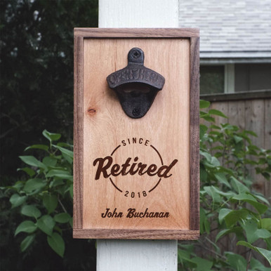 Retired Wall Mounted Bottle Opener Personalized