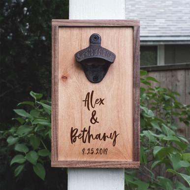 Custom Engraved Wedding Gift: Wooden Wall Mounted Bottle Opener