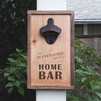 "Personalized ""Home Bar"" Wall Mounted Wooden Bottle Opener"