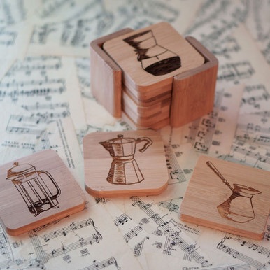 Beautiful set of six bamboo wood coasters etched with coffee art