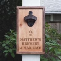 Personalized Walnut & Maple Wood Bottle Opener - Beer Hops