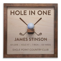 Personalized Hole in One Plaque with Ball Holder - Crossed Clubs