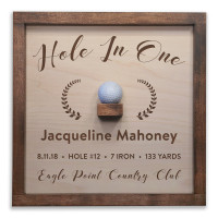 Personalized Hole in One Plaque with Ball Holder - Laurels