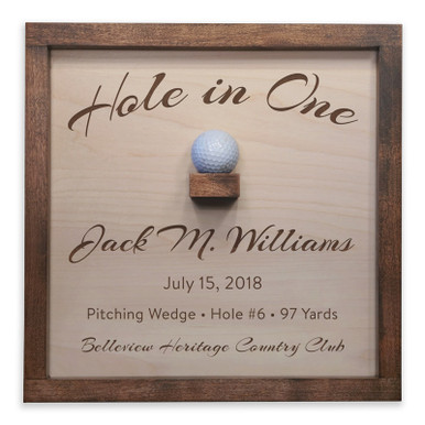 Personalized Hole in One Plaque with Ball Holder in Script