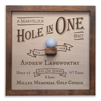 Personalized Hole in One Plaque with Ball Holder in Vintage