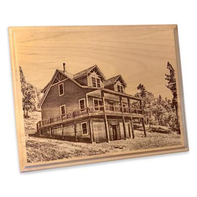 House Portrait Custom Laser Engraved Wooden Plaque