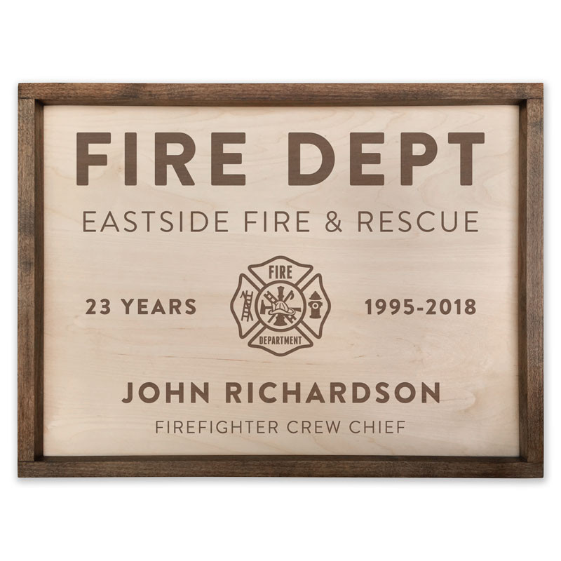 Personalized Pacific Crest Wooden Fire Department Sign With Custom