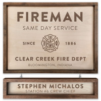 Fire Fighter Personalized Wood Sign 18x24 with Name Board