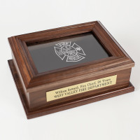 Firefighter Personalized Commemorative Walnut Wood Keepsake Box